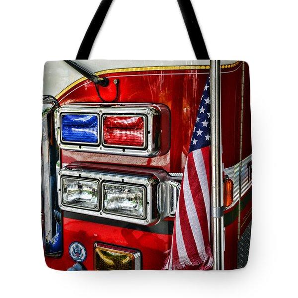 Fireman - Fire Truck Tote Bag by Paul Ward