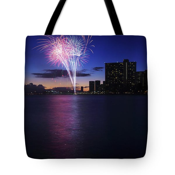 Fireworks over Waikiki Tote Bag by Brandon Tabiolo - Printscapes