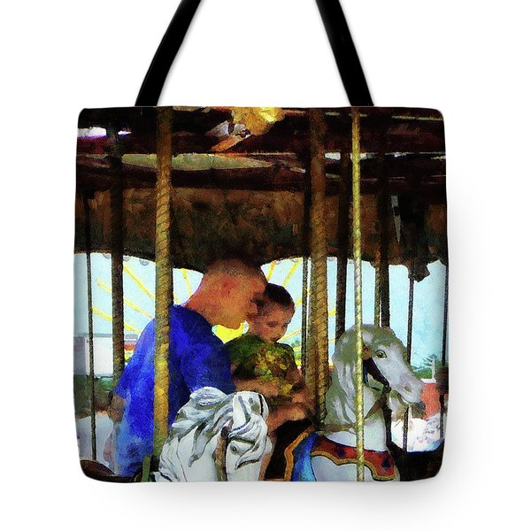 First Carousel Ride Tote Bag by Susan Savad