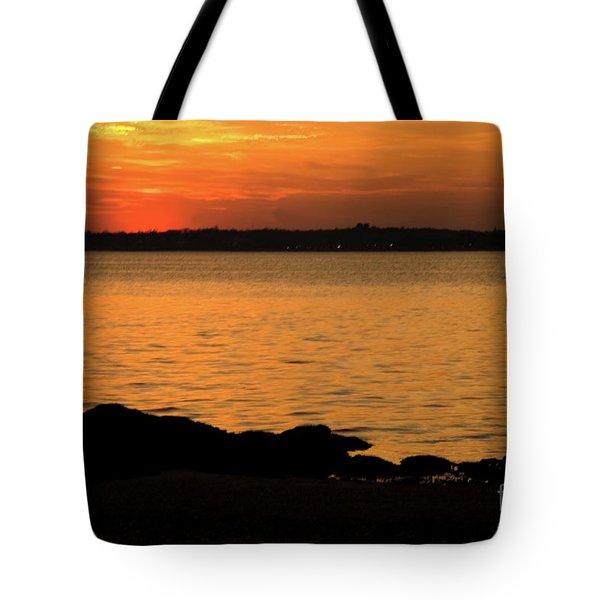 Fishing At Sunset Tote Bag by Karol Livote