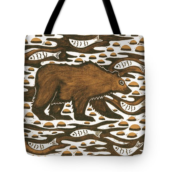 Fishing Bear Tote Bag by Nat Morley