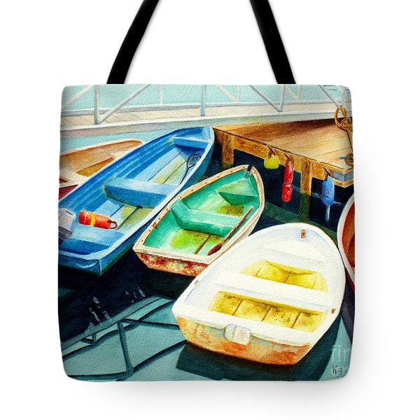 Fishing Boats Tote Bag by Karen Fleschler