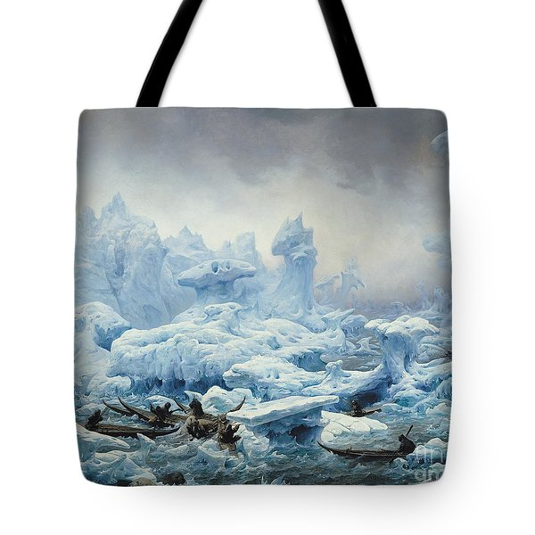 Fishing For Walrus In The Arctic Ocean Tote Bag by Francois Auguste Biard