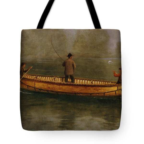 Fishing From A Canoe Tote Bag by Albert Bierstadt