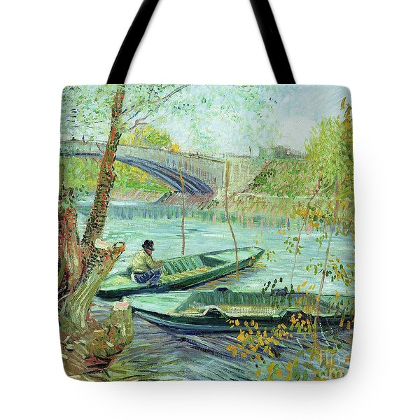 Fishing In The Spring Tote Bag by Vincent Van Gogh