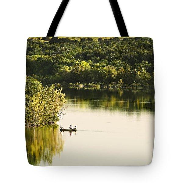 Fishing On Mountain Lake Tote Bag by Tamyra Ayles