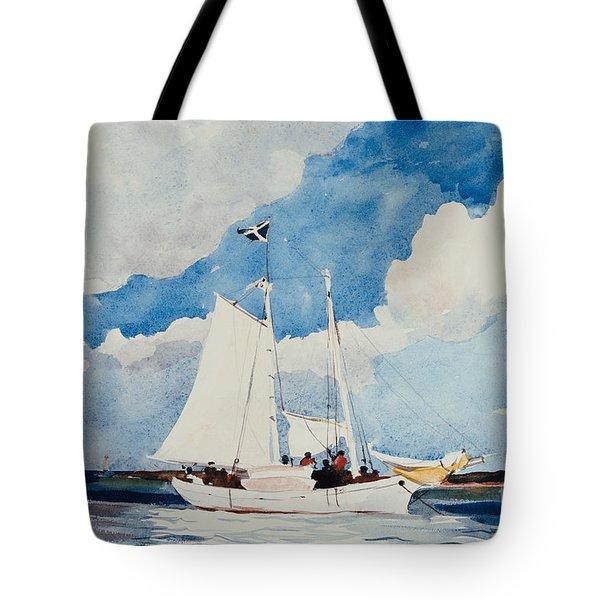 Fishing Schooner In Nassau Tote Bag by Winslow Homer