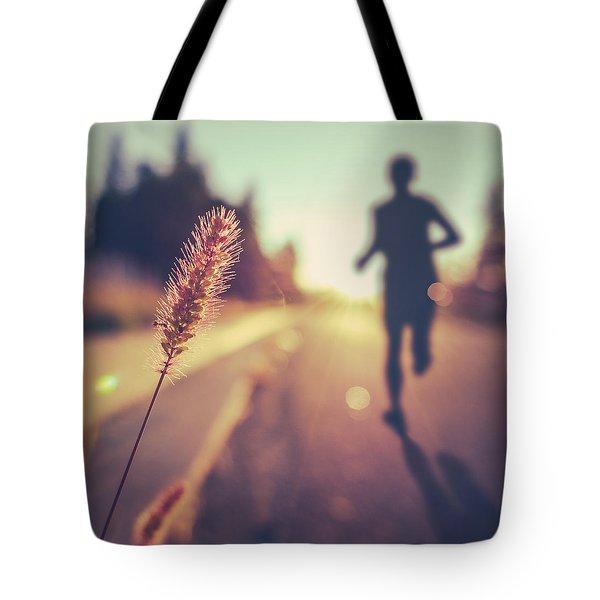 Fitness Training For Marathon At Sunset Tote Bag by Mr Doomits
