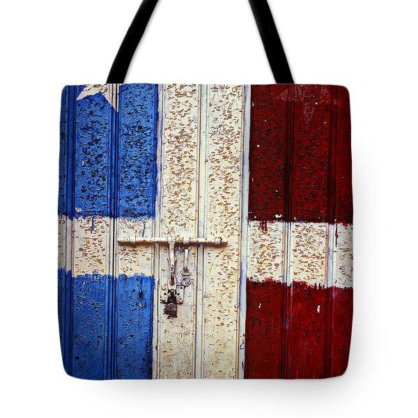 Flag Door Tote Bag by Garry Gay