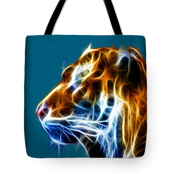 Flaming Tiger Tote Bag by Shane Bechler