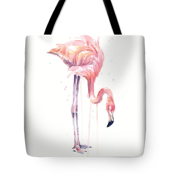 Flamingo Illustration Watercolor - Facing Left Tote Bag by Olga Shvartsur