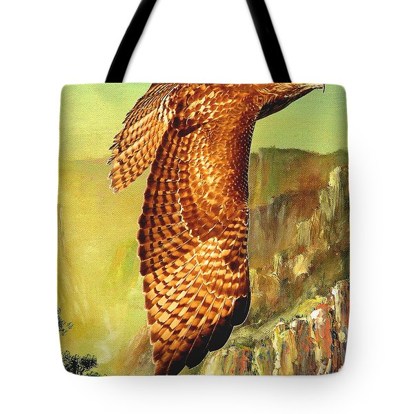 Flight Of The Red Tailed Hawk Tote Bag by Wingsdomain Art and Photography