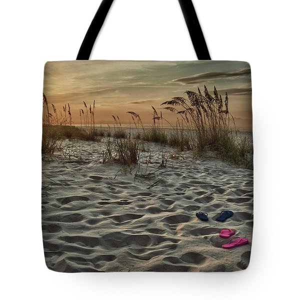 Flipflops On The Beach Tote Bag by Michael Thomas