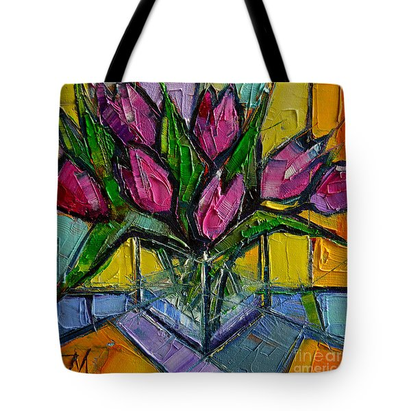 Floral Miniature - Abstract 0615 - Pink Tulips Tote Bag by Mona Edulesco