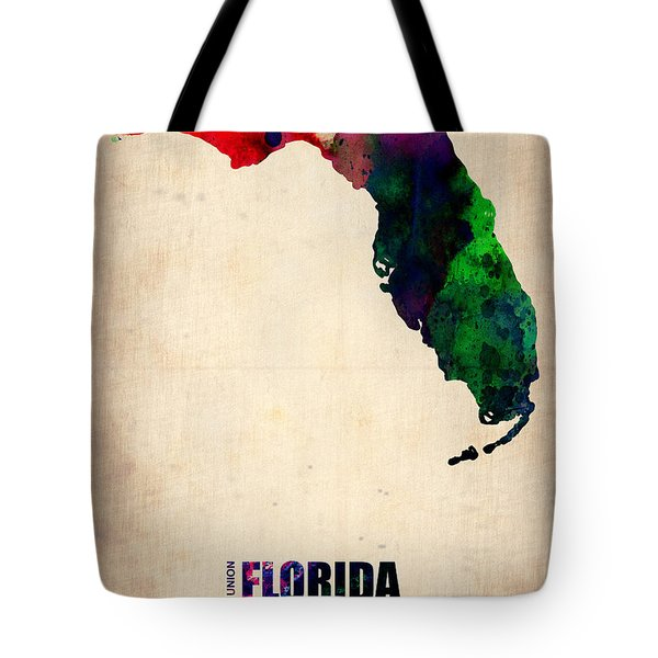 Florida Watercolor Map Tote Bag by Naxart Studio