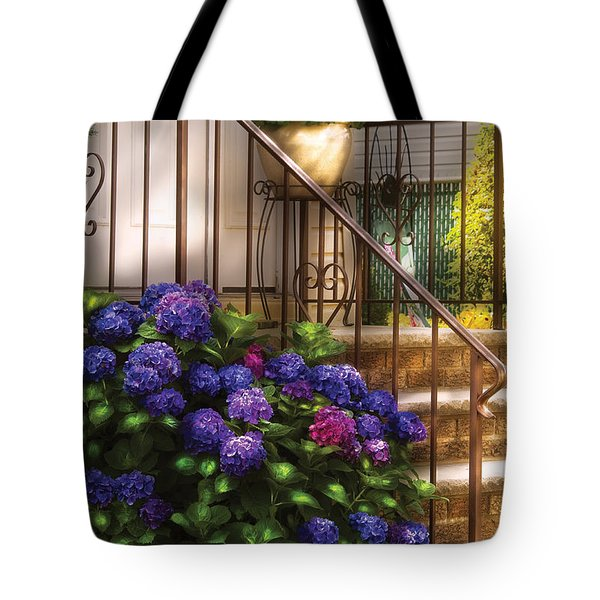 Flower - Hydrangea - Hydrangea and Geraniums  Tote Bag by Mike Savad