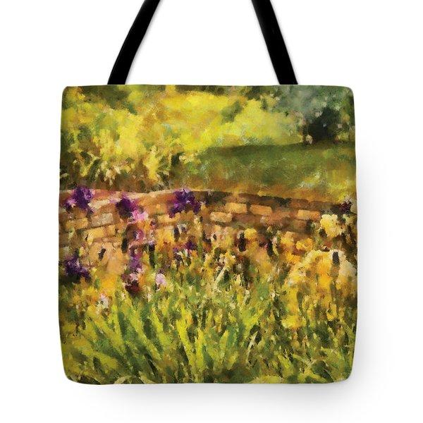 Flower - Iris - By The Bridge Tote Bag by Mike Savad