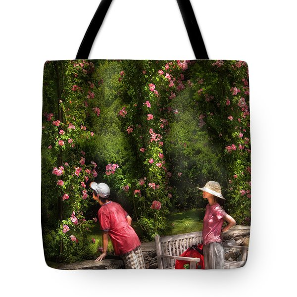Flower - Rose - Smelling The Roses Tote Bag by Mike Savad