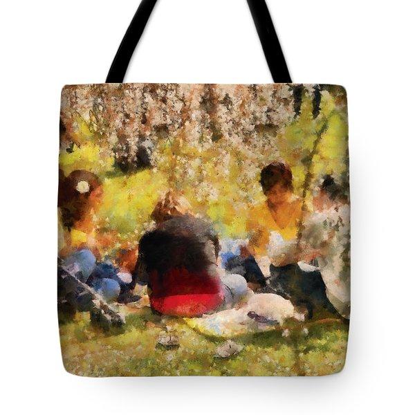 Flower - Sakura - Afternoon Picnic Tote Bag by Mike Savad