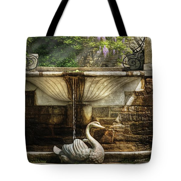 Flower - Wisteria - Fountain Tote Bag by Mike Savad
