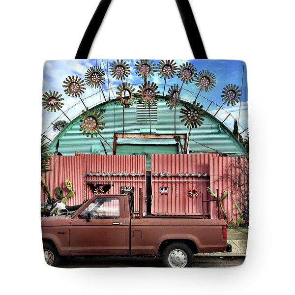 Flower House Tote Bag by Julie Gebhardt