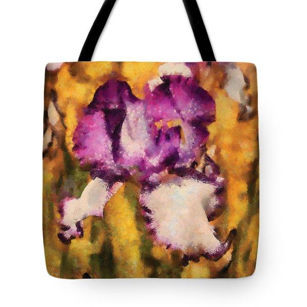 Flower - Iris - Diafragma violeta Tote Bag by Mike Savad