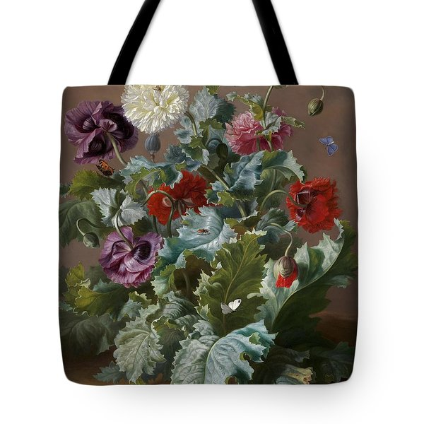 Flower Piece With Poppies And Butterflies Tote Bag by Celestial Images