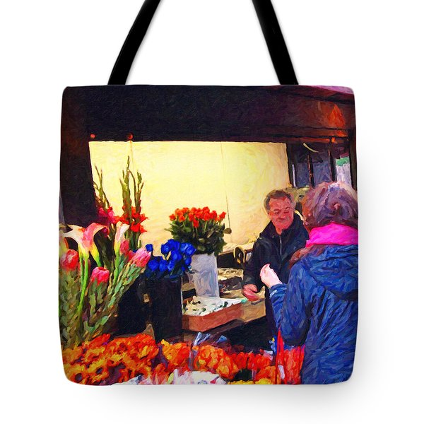 Flower Stand on Stockton and Geary Street . Photoart Tote Bag by Wingsdomain Art and Photography