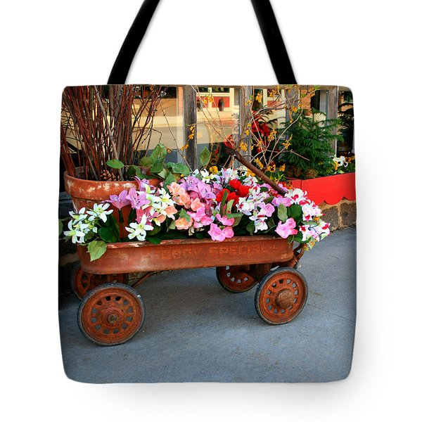 Flower Wagon Tote Bag by Perry Webster