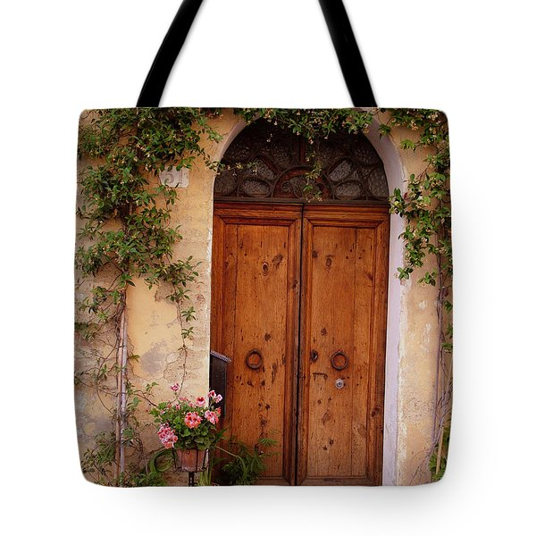Flowered Tuscan Door Tote Bag by Donna Corless