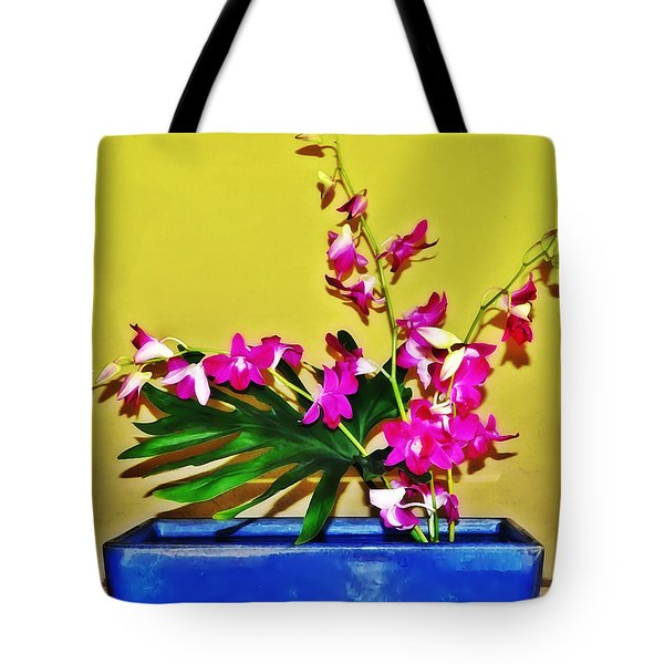 Flowers In A Blue Dish - Japanese House Tote Bag by Simon Wolter