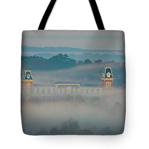 Fog At Old Main Tote Bag by Damon Shaw