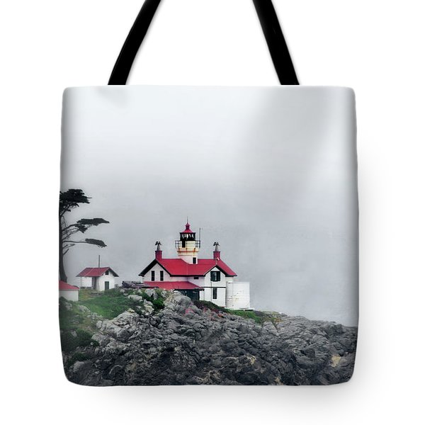 Fog comes rolling in - Battery Point Lighthouse - Crescent City CA Tote Bag by Christine Till