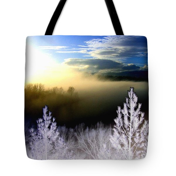 Foggy Winter Sunset Tote Bag by Will Borden