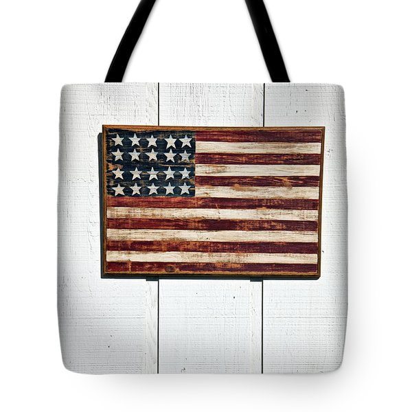 Folk Art American Flag On Wooden Wall Tote Bag by Garry Gay