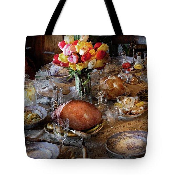 Food - Easter Dinner Tote Bag by Mike Savad