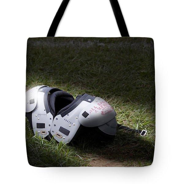 Football Shoulder Pads Tote Bag by Tom Mc Nemar
