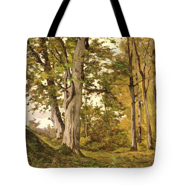 Forest At Fontainebleau Tote Bag by Henri-Joseph Harpignies