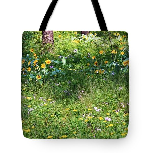 Forest Flowers Landscape Tote Bag by Carol Groenen