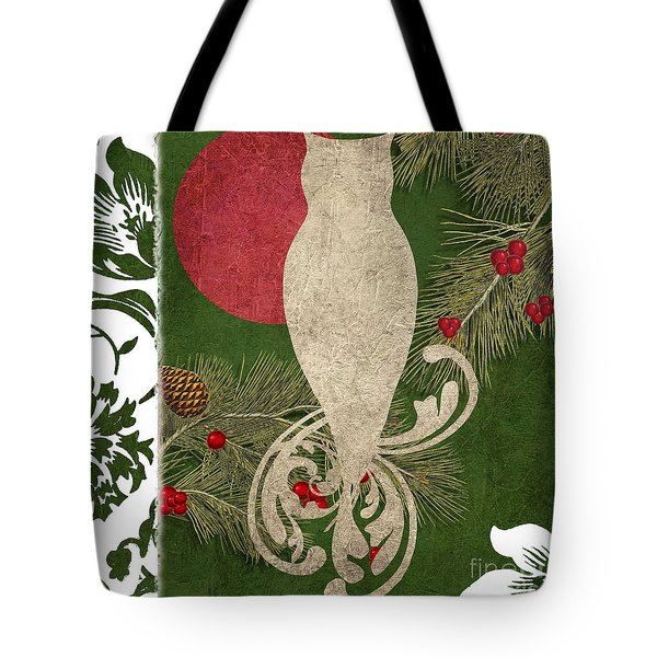 Forest Holiday Christmas Owl Tote Bag by Mindy Sommers