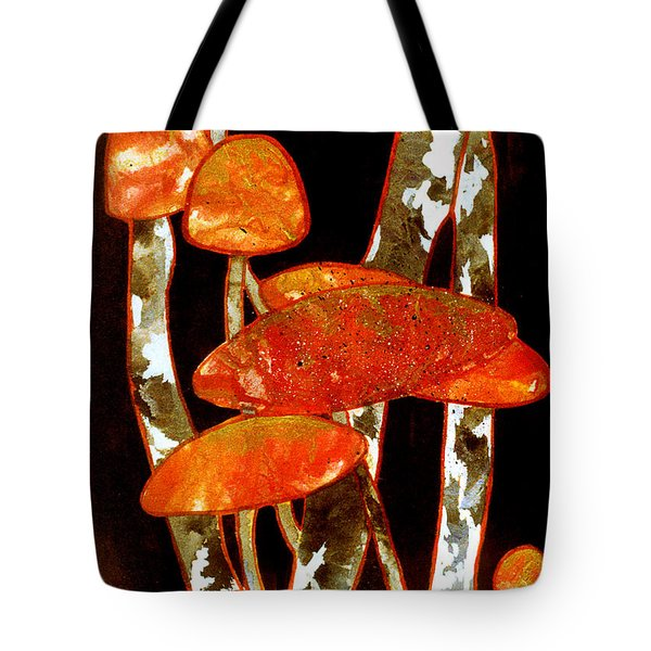 Forest Treasures A Collage Depicting Woodland Mushrooms Tote Bag by Phil Albone