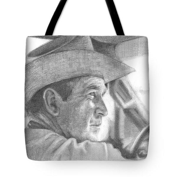 Former Pres. George W. Bush Wearing A Cowboy Hat Tote Bag by Michelle Flanagan