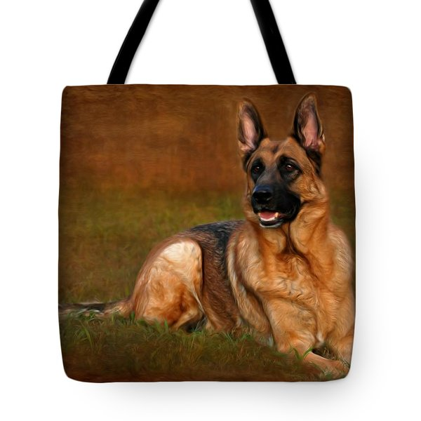 Forrest The German Shepherd Tote Bag by Angie Tirado
