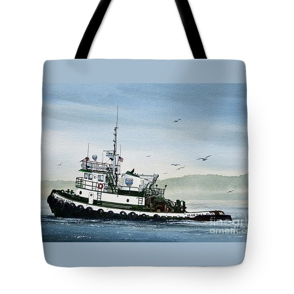FOSS Tugboat MARTHA FOSS Tote Bag by James Williamson