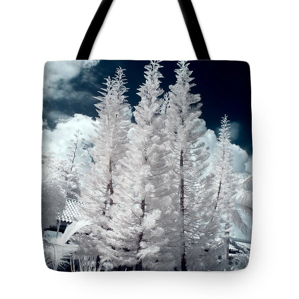 Four Tropical Pines Infrared Tote Bag by Adam Romanowicz