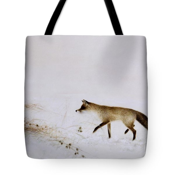 Fox In Snow Tote Bag by Jane Neville