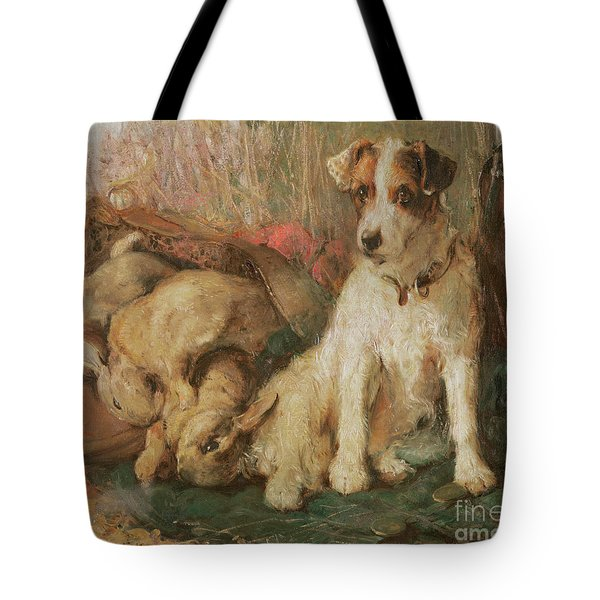 Fox Terrier With The Day's Bag Tote Bag by English School