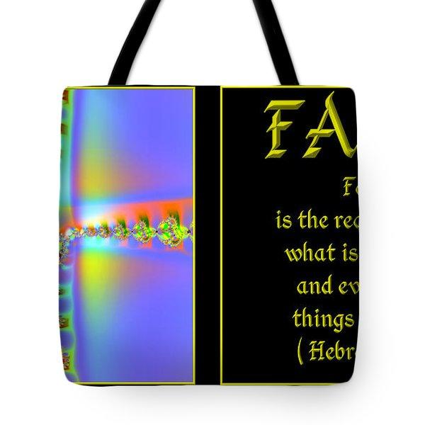 Fractal Faith Hebrews 11 Tote Bag by Rose Santuci-Sofranko