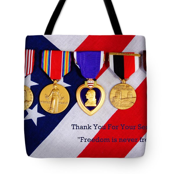 Freedom is Never Free Tote Bag by James BO  Insogna