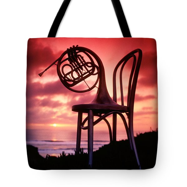 French Horn On Chair Tote Bag by Garry Gay